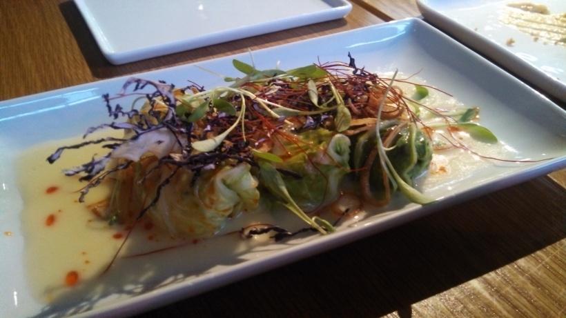 Cabbage rolls: crab, shrimp, ginger, cream cheese, chili